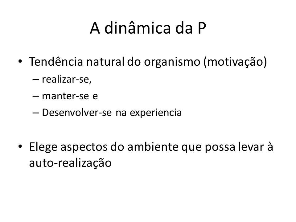A dinâmica da P Tendência natural do organismo (motivação) – realizar-se, – manter-se e – Desenvolver-se na experiencia Elege aspectos do ambiente que possa levar à auto-realização