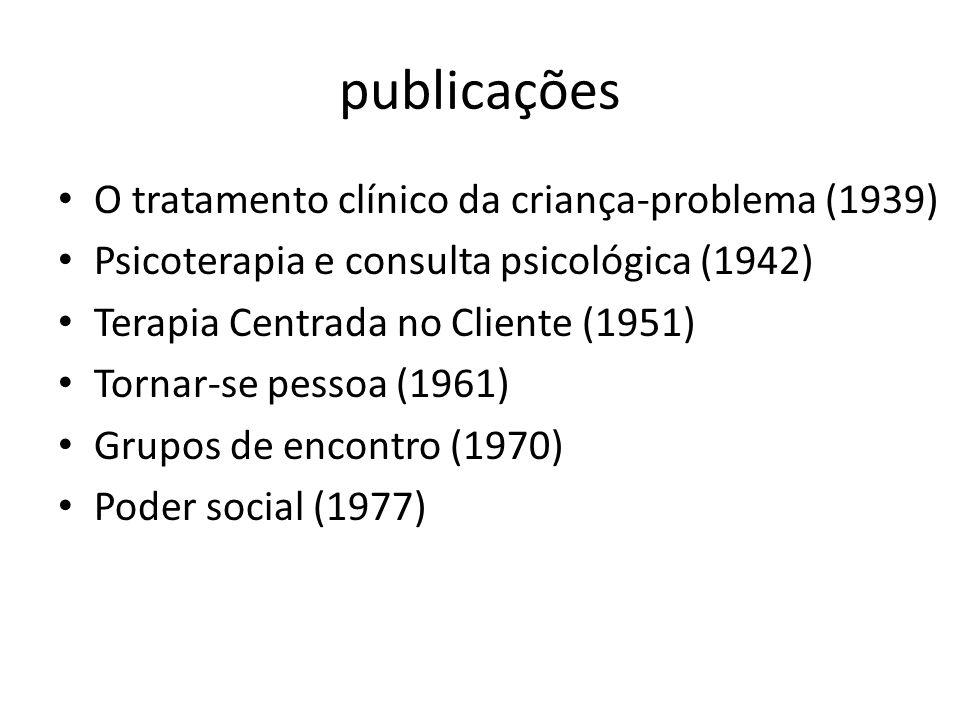 publicações O tratamento clínico da criança-problema (1939) Psicoterapia e consulta psicológica (1942) Terapia Centrada no Cliente (1951) Tornar-se pessoa (1961) Grupos de encontro (1970) Poder social (1977)