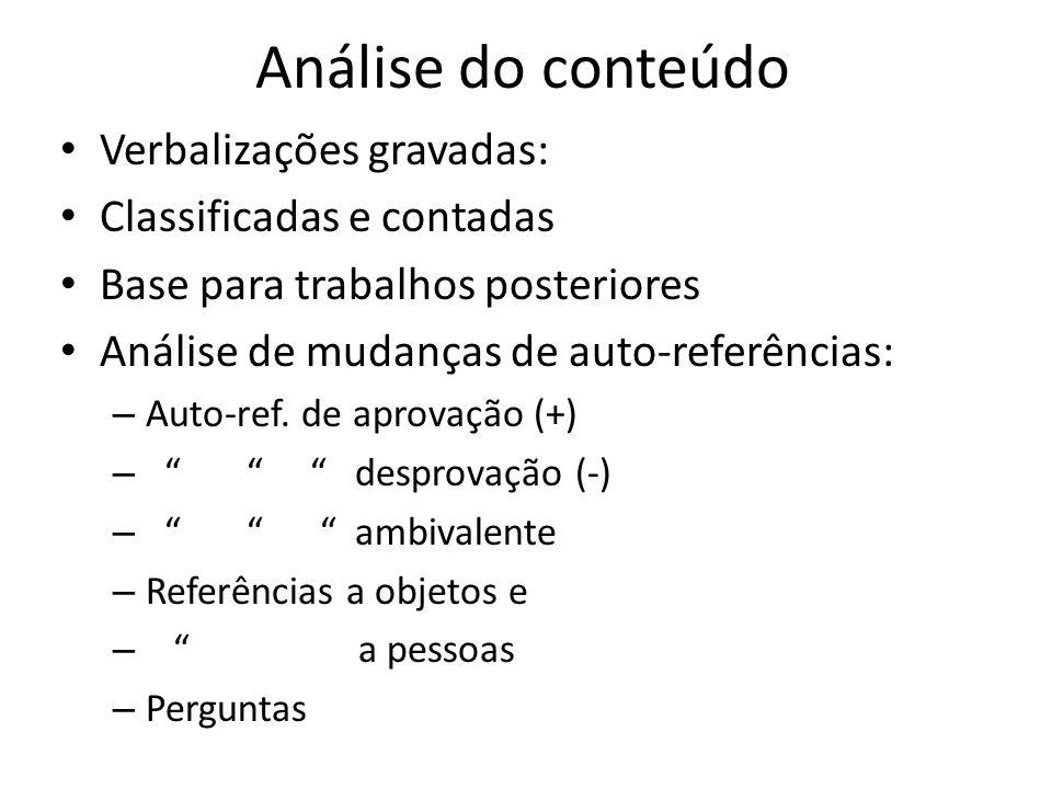 Análise do conteúdo Verbalizações gravadas: Classificadas e contadas Base para trabalhos posteriores Análise de mudanças de auto-referências: – Auto-ref.