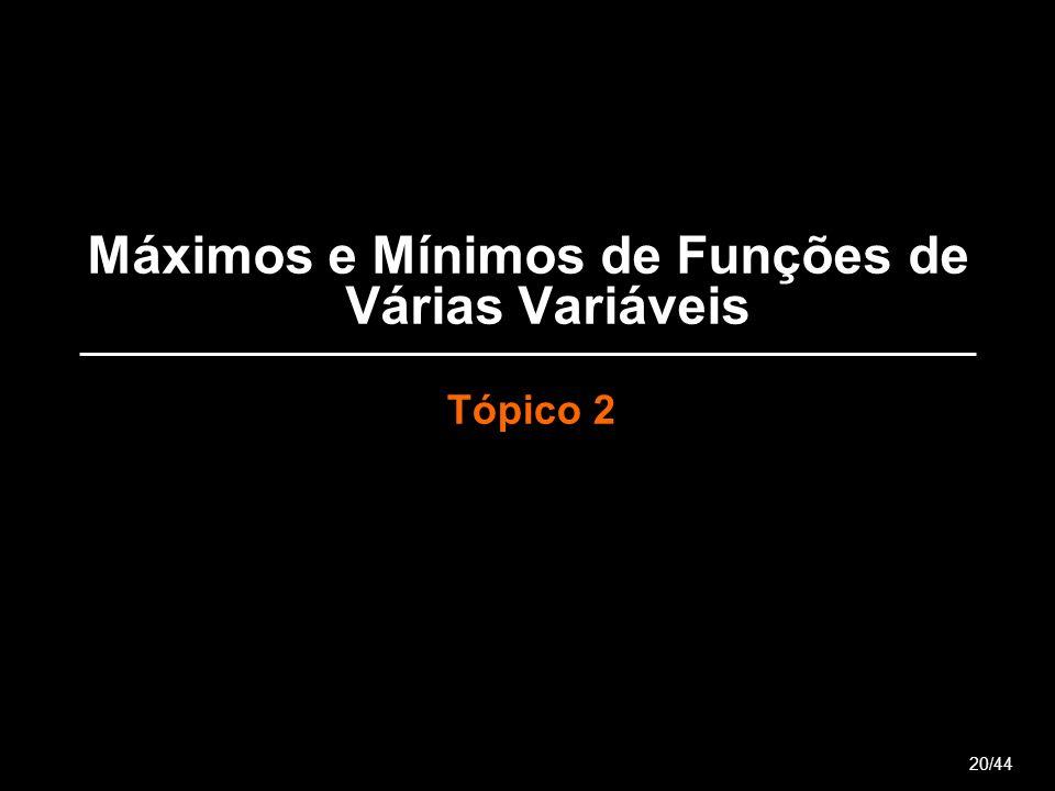Máximos e Mínimos de Funções de Várias Variáveis Tópico 2 20/44