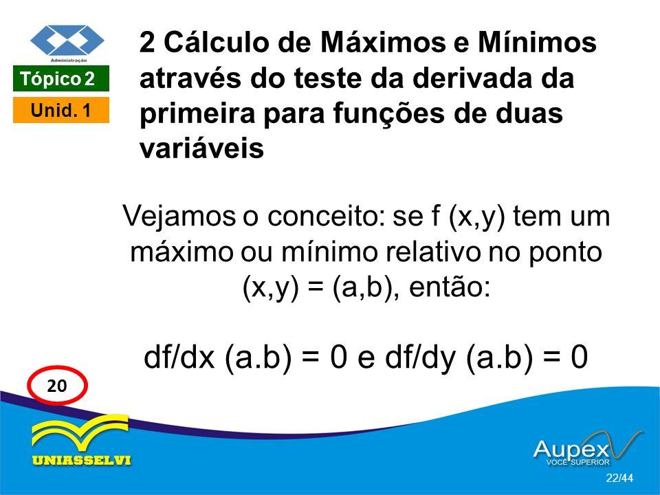 2 Cálculo de Máximos e Mínimos através do teste da derivada da primeira para funções de duas variáveis Vejamos o conceito: se f (x,y) tem um máximo ou