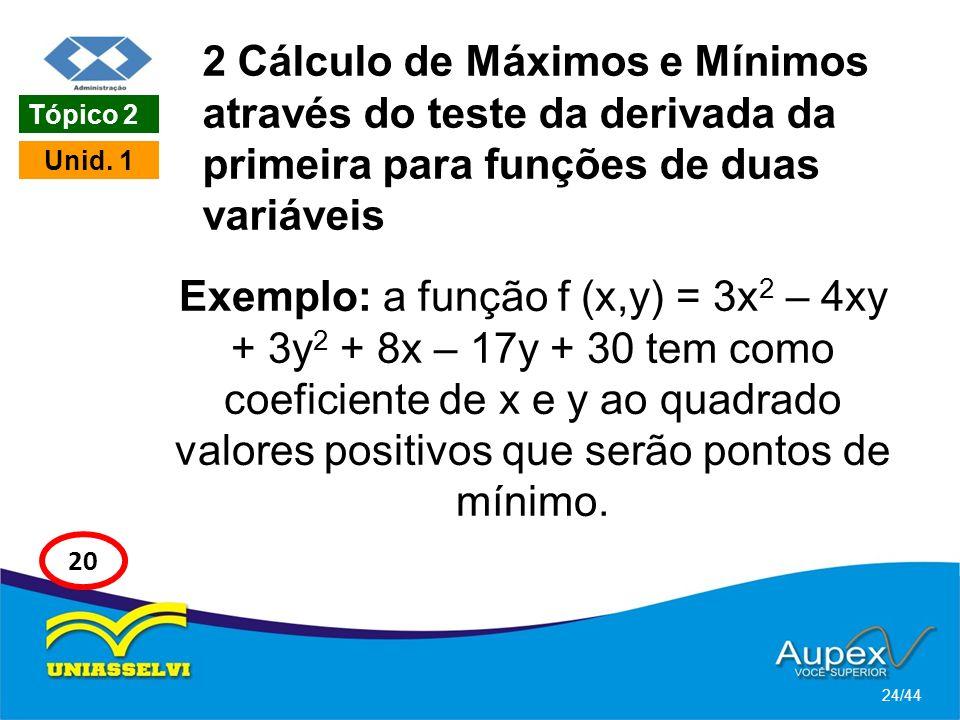 2 Cálculo de Máximos e Mínimos através do teste da derivada da primeira para funções de duas variáveis Exemplo: a função f (x,y) = 3x 2 – 4xy + 3y 2 +