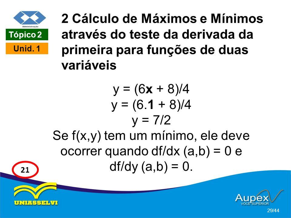 2 Cálculo de Máximos e Mínimos através do teste da derivada da primeira para funções de duas variáveis y = (6x + 8)/4 y = (6.1 + 8)/4 y = 7/2 Se f(x,y