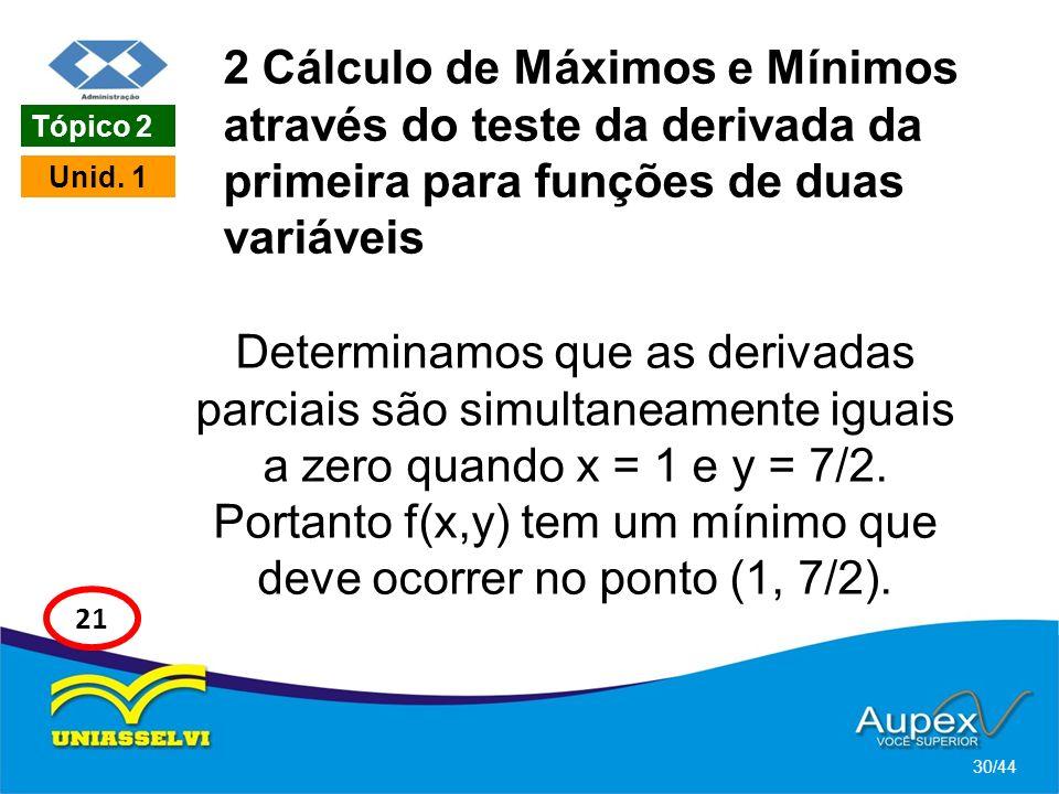 2 Cálculo de Máximos e Mínimos através do teste da derivada da primeira para funções de duas variáveis Determinamos que as derivadas parciais são simu