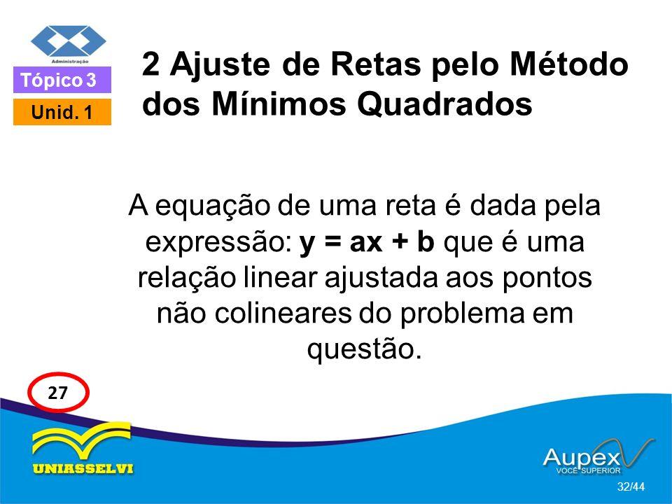 2 Ajuste de Retas pelo Método dos Mínimos Quadrados A equação de uma reta é dada pela expressão: y = ax + b que é uma relação linear ajustada aos pont