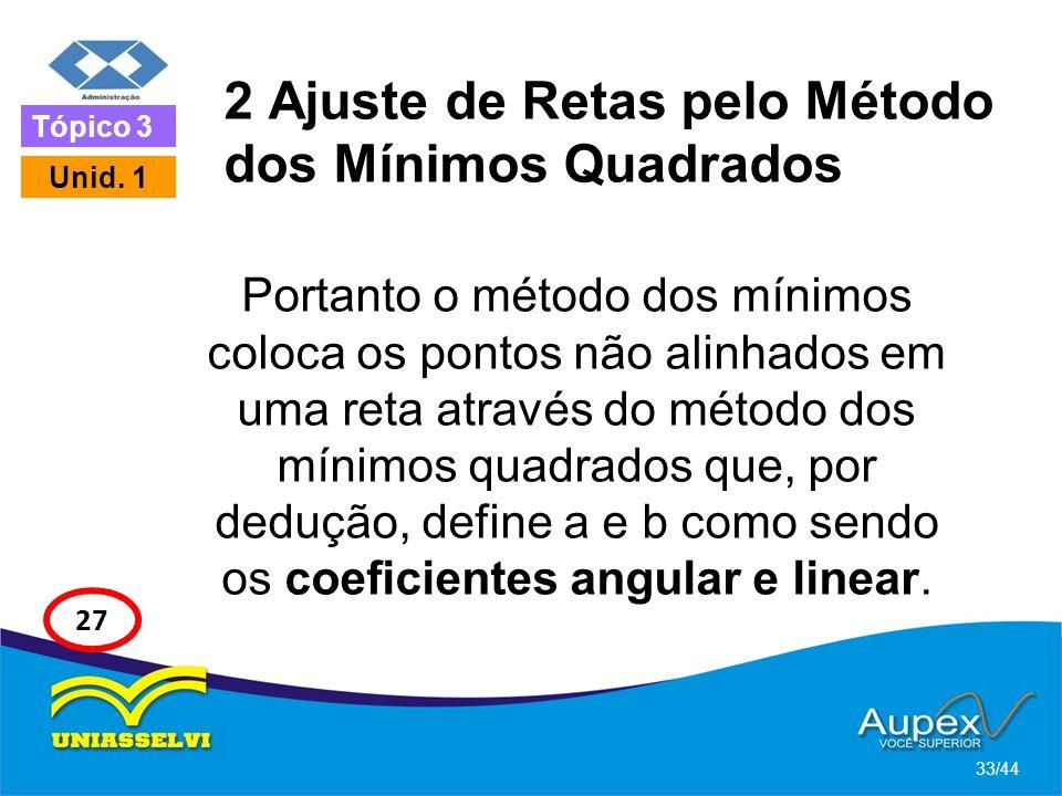 2 Ajuste de Retas pelo Método dos Mínimos Quadrados Portanto o método dos mínimos coloca os pontos não alinhados em uma reta através do método dos mín