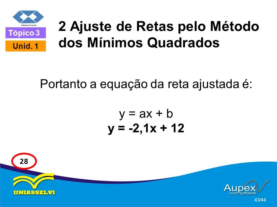 2 Ajuste de Retas pelo Método dos Mínimos Quadrados Portanto a equação da reta ajustada é: y = ax + b y = -2,1x + 12 43/44 Tópico 3 Unid. 1 28