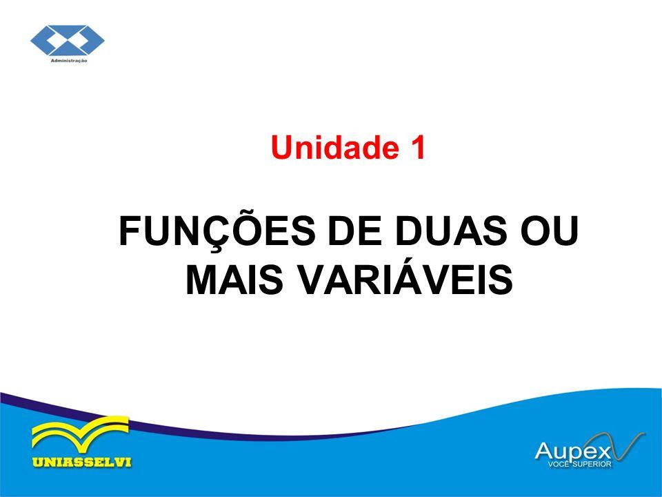 Unidade 1 FUNÇÕES DE DUAS OU MAIS VARIÁVEIS