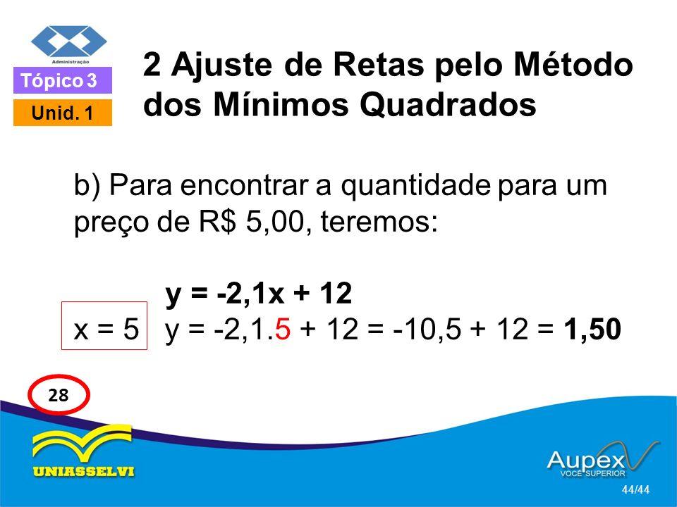 2 Ajuste de Retas pelo Método dos Mínimos Quadrados b) Para encontrar a quantidade para um preço de R$ 5,00, teremos: y = -2,1x + 12 x = 5 y = -2,1.5