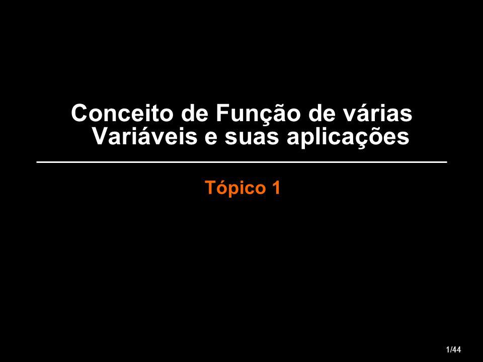 Conceito de Função de várias Variáveis e suas aplicações Tópico 1 1/44