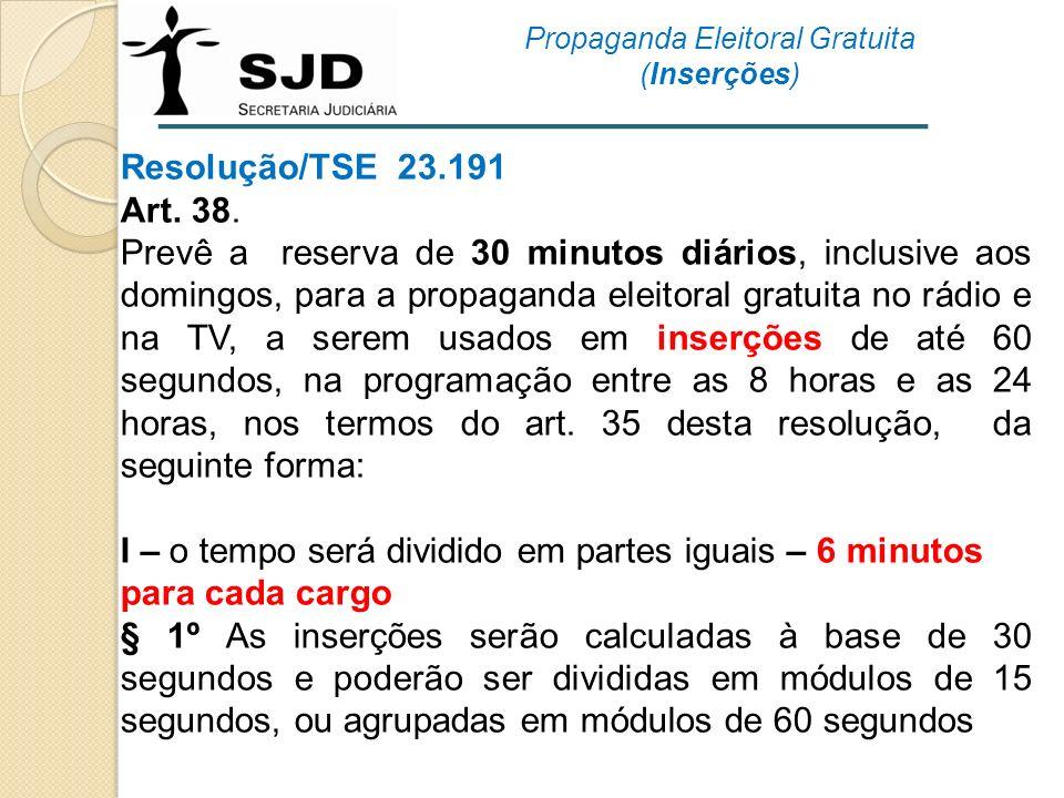 Resolução/TSE 23.191 Art. 38. Prevê a reserva de 30 minutos diários, inclusive aos domingos, para a propaganda eleitoral gratuita no rádio e na TV, a