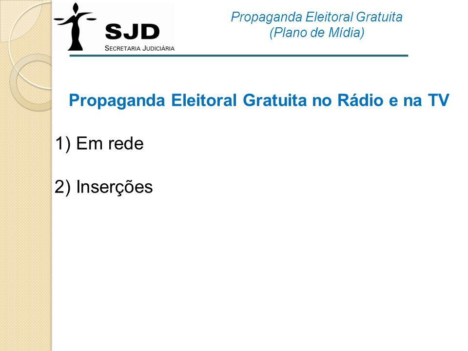 Propaganda Eleitoral Gratuita no Rádio e na TV 1) Em rede 2) Inserções Propaganda Eleitoral Gratuita (Plano de Mídia)