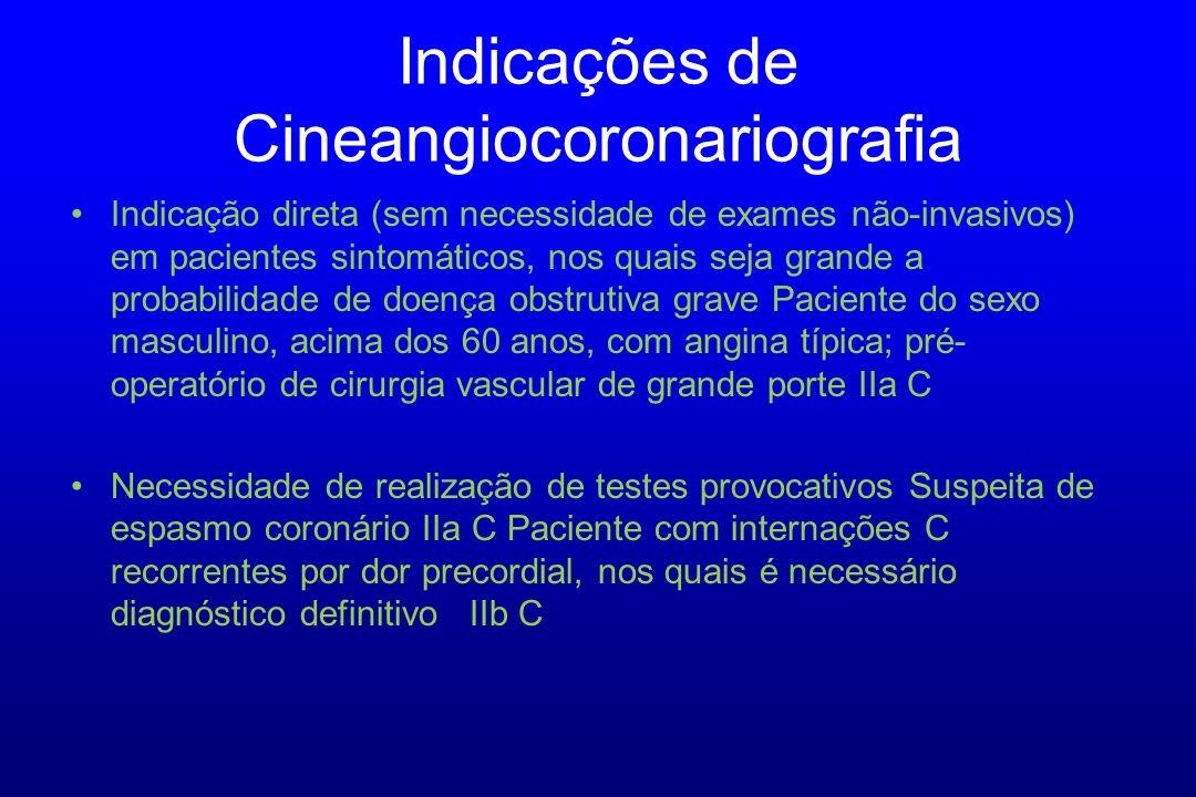 Indicação direta (sem necessidade de exames não-invasivos) em pacientes sintomáticos, nos quais seja grande a probabilidade de doença obstrutiva grave