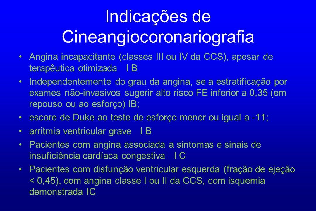 Angina incapacitante (classes III ou IV da CCS), apesar de terapêutica otimizada I B Independentemente do grau da angina, se a estratificação por exam
