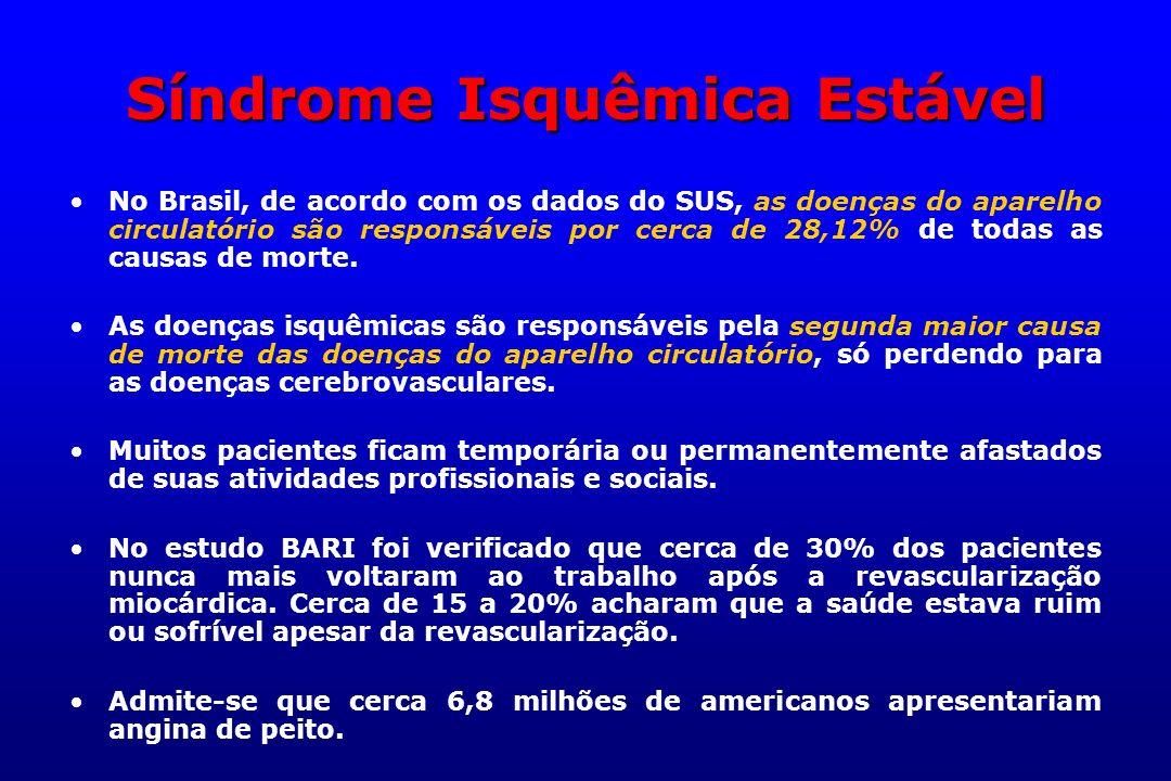Síndrome Isquêmica Estável No Brasil, de acordo com os dados do SUS, as doenças do aparelho circulatório são responsáveis por cerca de 28,12% de todas