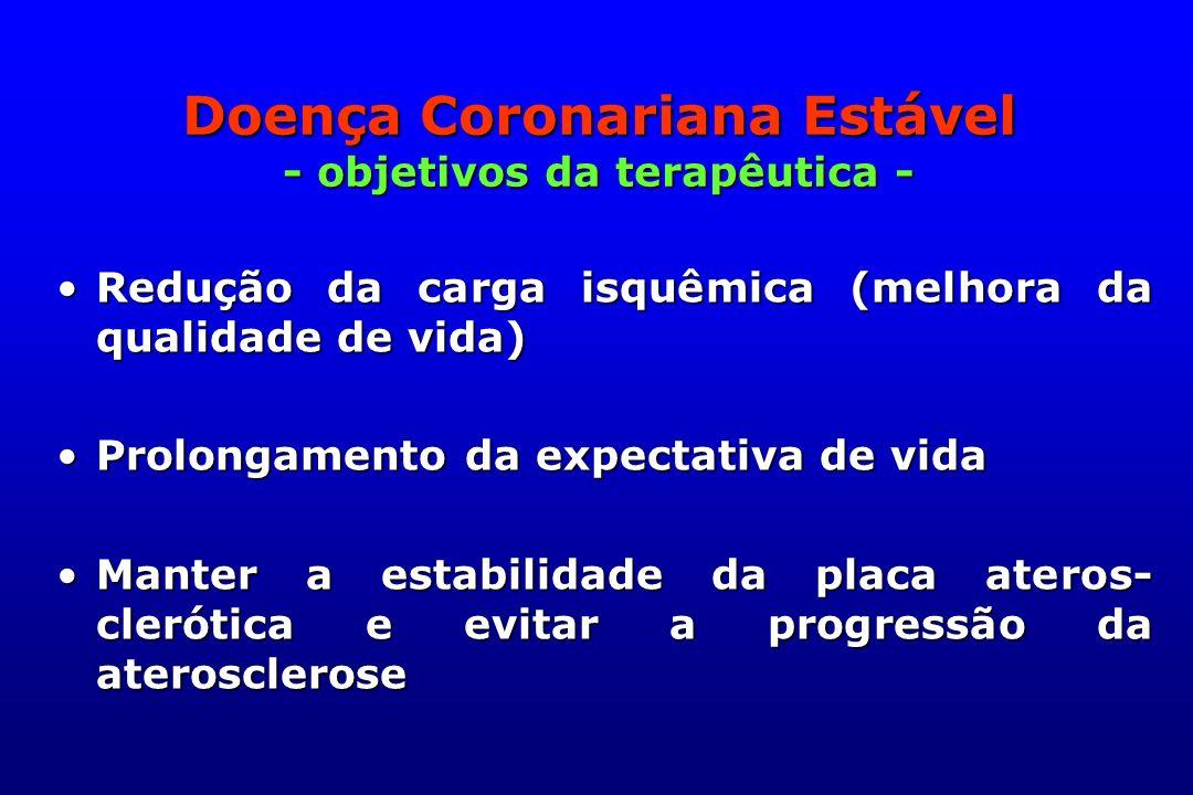 Doença Coronariana Estável - objetivos da terapêutica - Redução da carga isquêmica (melhora da qualidade de vida)Redução da carga isquêmica (melhora d