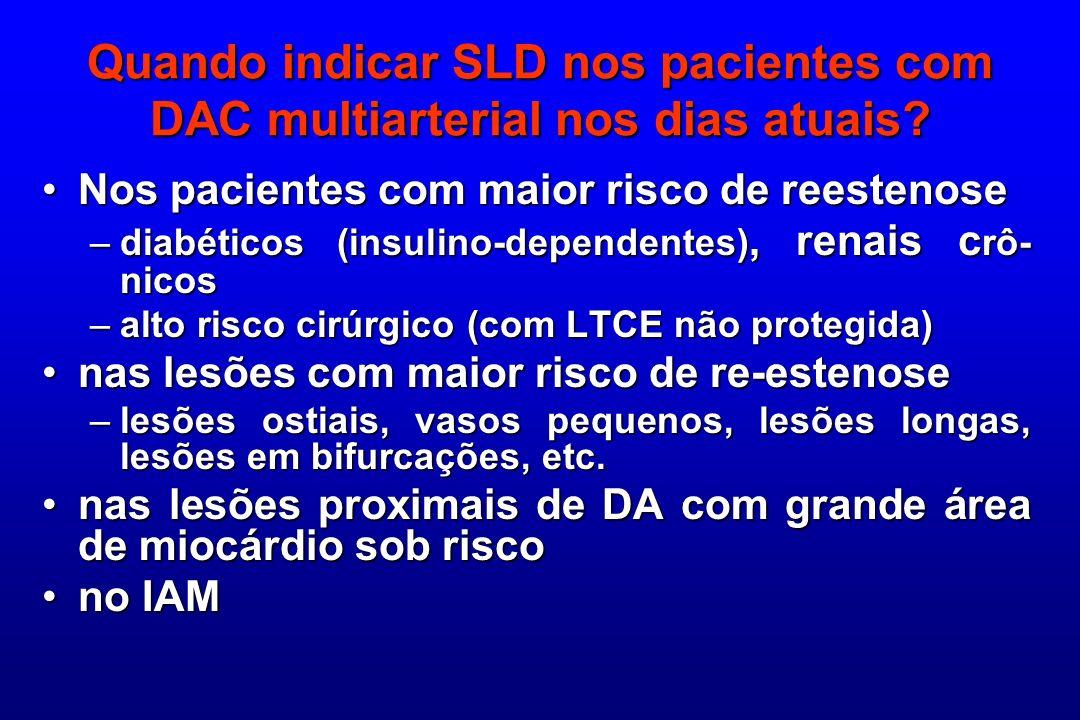 Quando indicar SLD nos pacientes com DAC multiarterial nos dias atuais? Nos pacientes com maior risco de reestenoseNos pacientes com maior risco de re