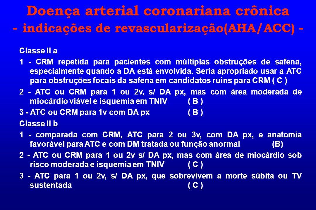 Classe II a 1 - CRM repetida para pacientes com múltiplas obstruções de safena, especialmente quando a DA está envolvida. Seria apropriado usar a ATC