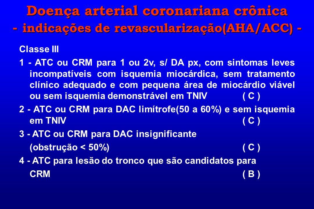 Classe III 1 - ATC ou CRM para 1 ou 2v, s/ DA px, com sintomas leves incompatíveis com isquemia miocárdica, sem tratamento clínico adequado e com pequ