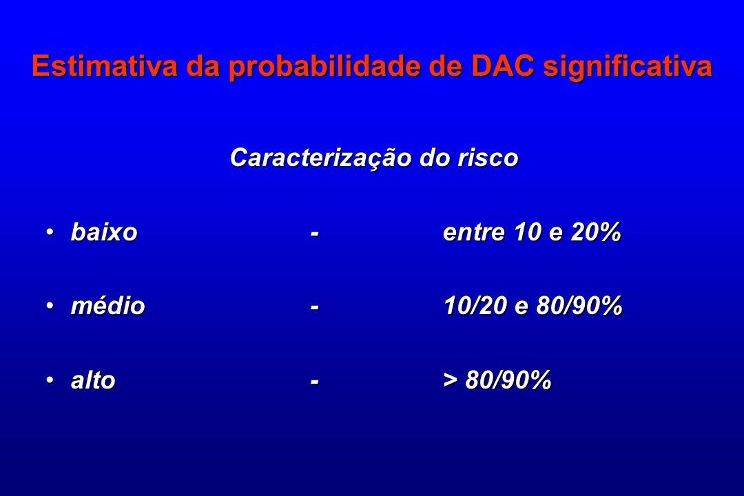 Estimativa da probabilidade de DAC significativa Caracterização do risco baixo -entre 10 e 20%baixo -entre 10 e 20% médio-10/20 e 80/90%médio-10/20 e