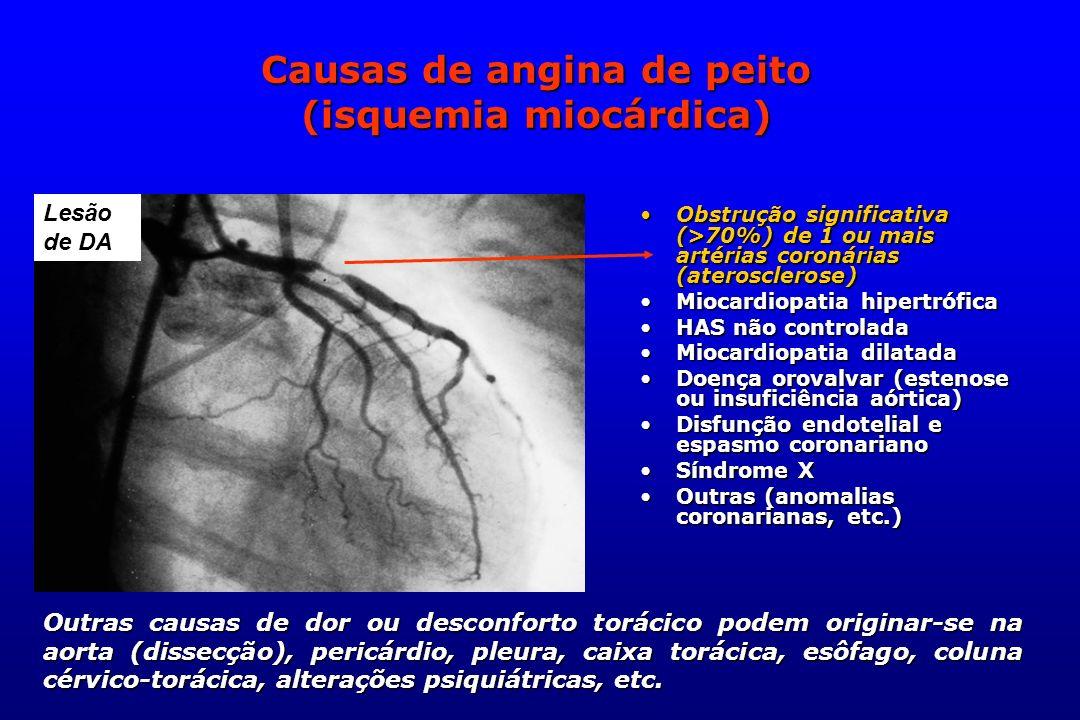 Lesão de DA Causas de angina de peito (isquemia miocárdica) Obstrução significativa (>70%) de 1 ou mais artérias coronárias (aterosclerose)Obstrução s