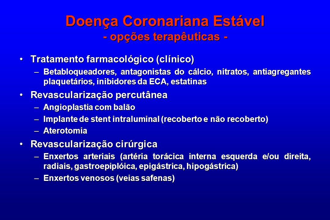 Doença Coronariana Estável - opções terapêuticas - Tratamento farmacológico (clínico)Tratamento farmacológico (clínico) –Betabloqueadores, antagonista