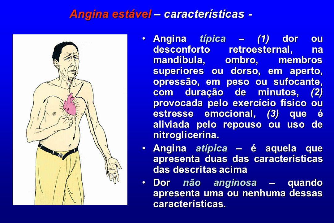 Angina típica – (1) dor ou desconforto retroesternal, na mandíbula, ombro, membros superiores ou dorso, em aperto, opressão, em peso ou sufocante, com