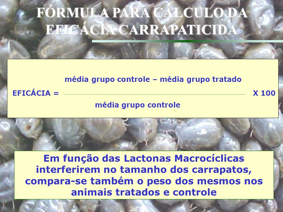 Data analysis: according to total number of ticks, total weight of ticks and index of reproduction Also considering: average weight of ticks, eggs laid per tick incubated, weight of eggs laid per gram of tick and % egg hatching % reduction in number of ticks dropping: Efficacy = 100* (1 – T/C) T=geometric mean treated C = geometric mean control Geometric mean = transformation to the natural log of (count + 1)