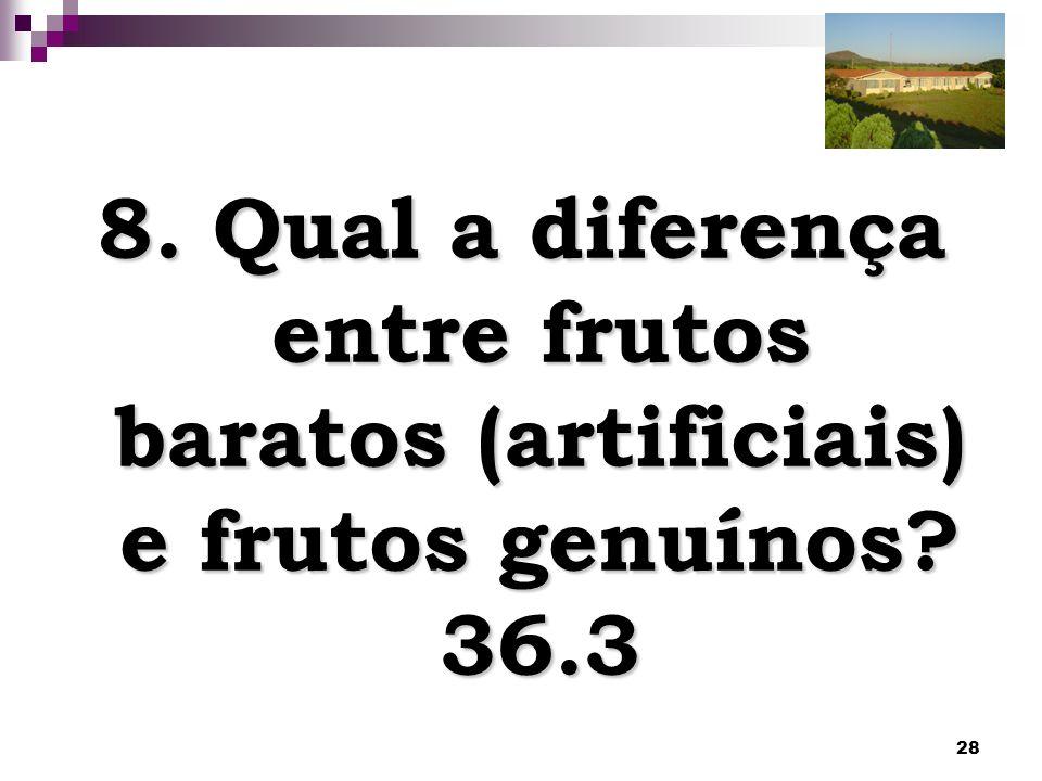 28 8. Qual a diferença entre frutos baratos (artificiais) e frutos genuínos? 36.3