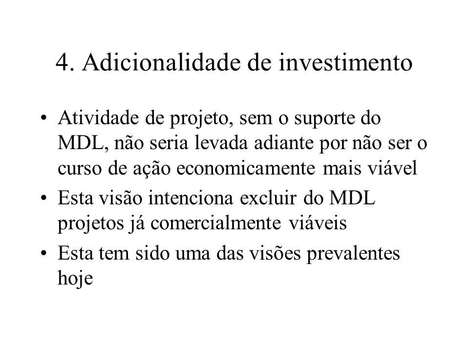 4. Adicionalidade de investimento Atividade de projeto, sem o suporte do MDL, não seria levada adiante por não ser o curso de ação economicamente mais