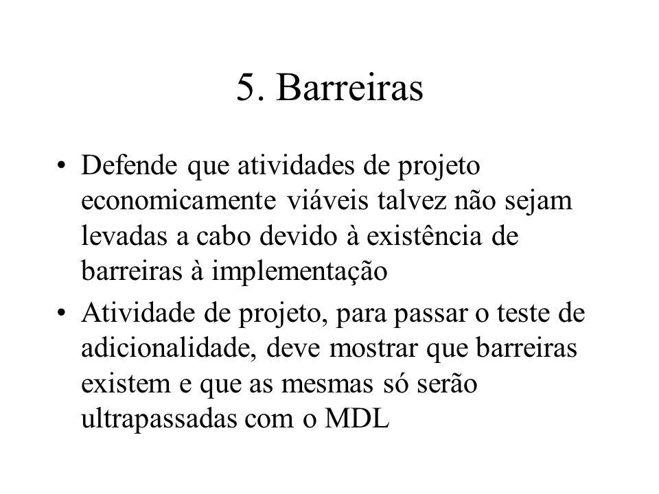 5. Barreiras Defende que atividades de projeto economicamente viáveis talvez não sejam levadas a cabo devido à existência de barreiras à implementação