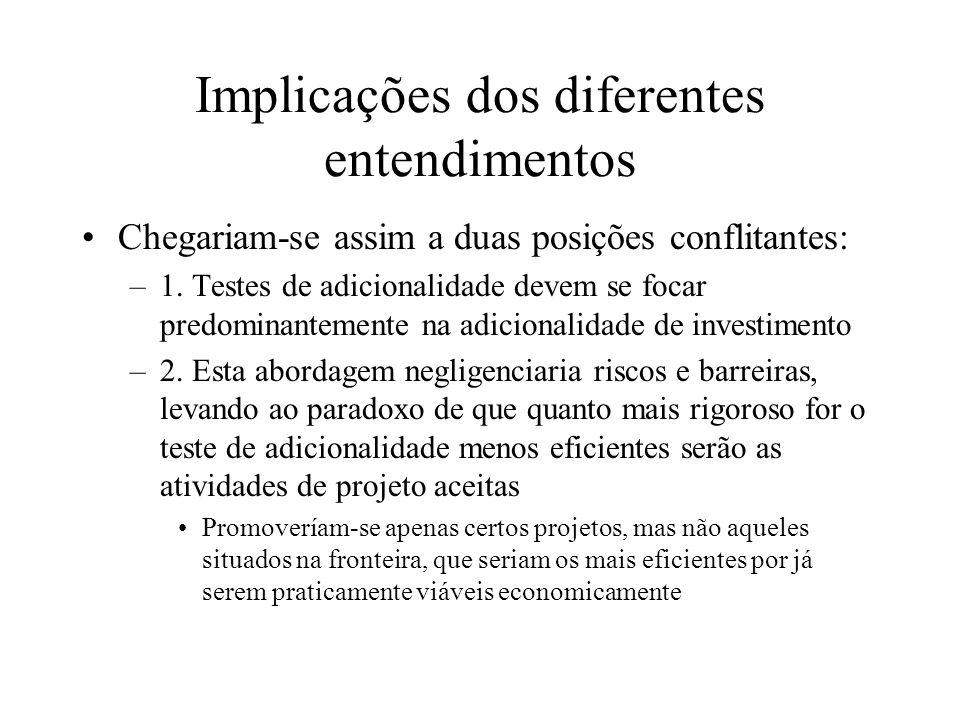 Implicações dos diferentes entendimentos Chegariam-se assim a duas posições conflitantes: –1.