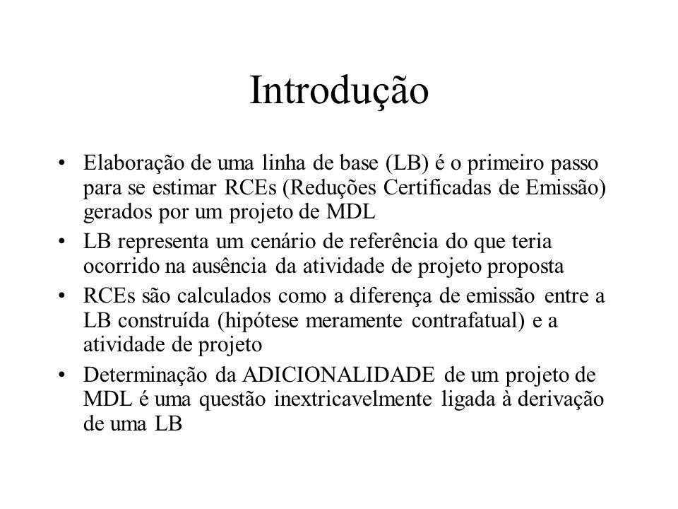 Introdução Elaboração de uma linha de base (LB) é o primeiro passo para se estimar RCEs (Reduções Certificadas de Emissão) gerados por um projeto de MDL LB representa um cenário de referência do que teria ocorrido na ausência da atividade de projeto proposta RCEs são calculados como a diferença de emissão entre a LB construída (hipótese meramente contrafatual) e a atividade de projeto Determinação da ADICIONALIDADE de um projeto de MDL é uma questão inextricavelmente ligada à derivação de uma LB