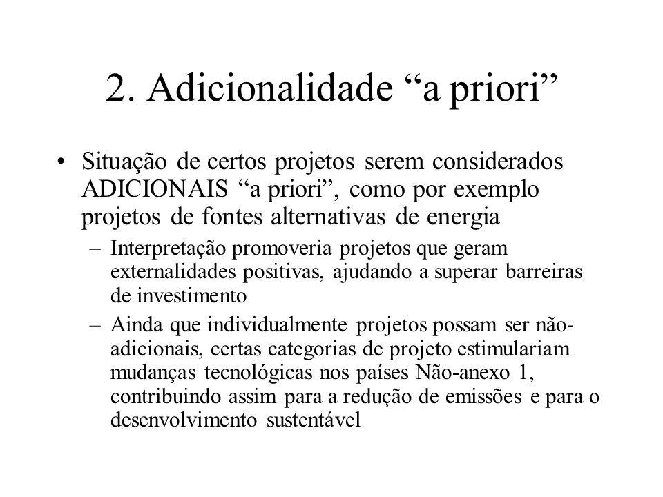 2. Adicionalidade a priori Situação de certos projetos serem considerados ADICIONAIS a priori, como por exemplo projetos de fontes alternativas de ene