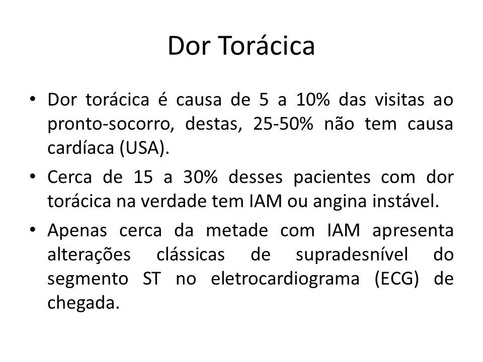 Dor Torácica Dor torácica é causa de 5 a 10% das visitas ao pronto-socorro, destas, 25-50% não tem causa cardíaca (USA). Cerca de 15 a 30% desses paci