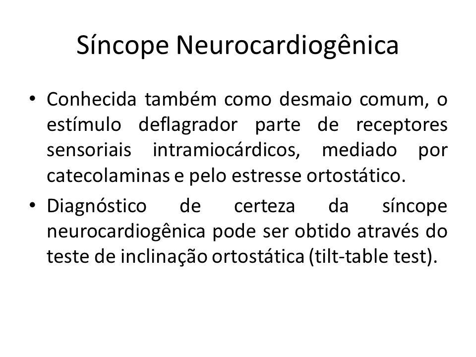 Síncope Neurocardiogênica Conhecida também como desmaio comum, o estímulo deflagrador parte de receptores sensoriais intramiocárdicos, mediado por cat