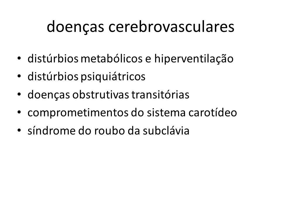 doenças cerebrovasculares distúrbios metabólicos e hiperventilação distúrbios psiquiátricos doenças obstrutivas transitórias comprometimentos do siste