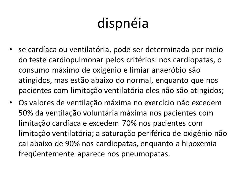 dispnéia se cardíaca ou ventilatória, pode ser determinada por meio do teste cardiopulmonar pelos critérios: nos cardiopatas, o consumo máximo de oxig