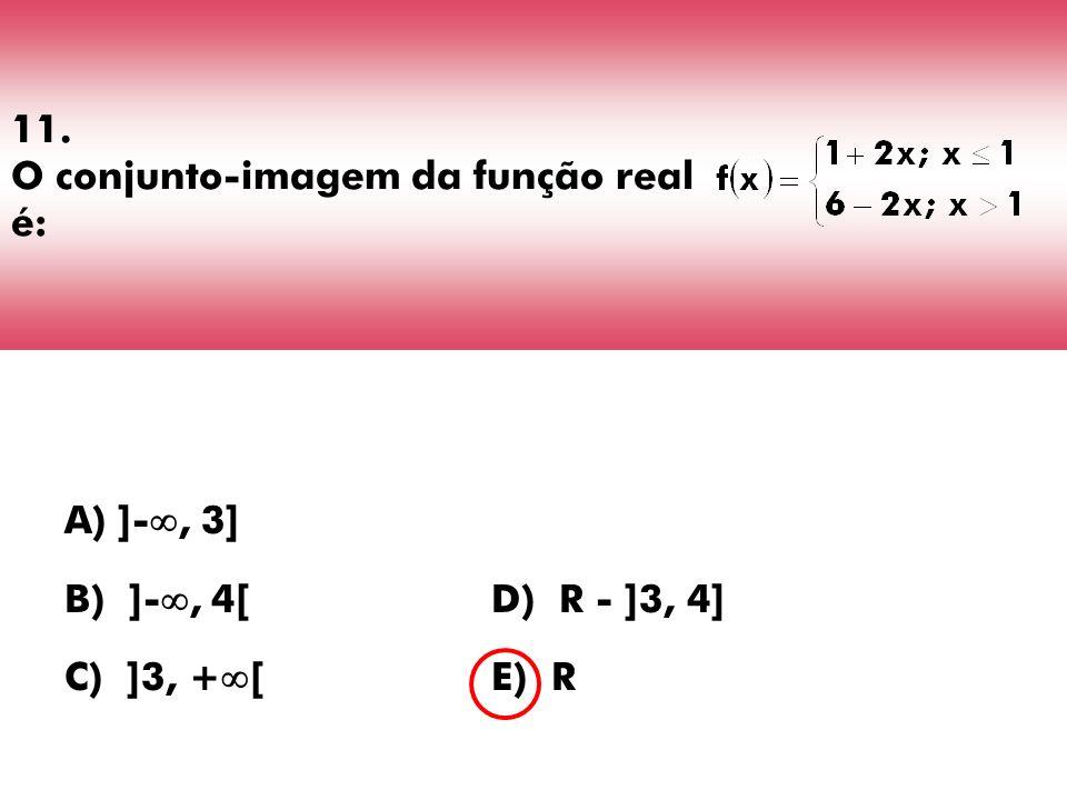11. O conjunto-imagem da função real é: A) ]-, 3] B) ]-, 4[D) R - ]3, 4] C) ]3, + [E) R