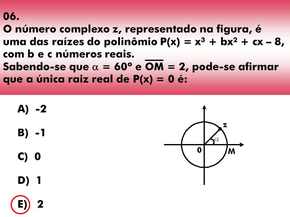 06. O número complexo z, representado na figura, é uma das raízes do polinômio P(x) = x 3 + bx 2 + cx – 8, com b e c números reais. Sabendo-se que = 6