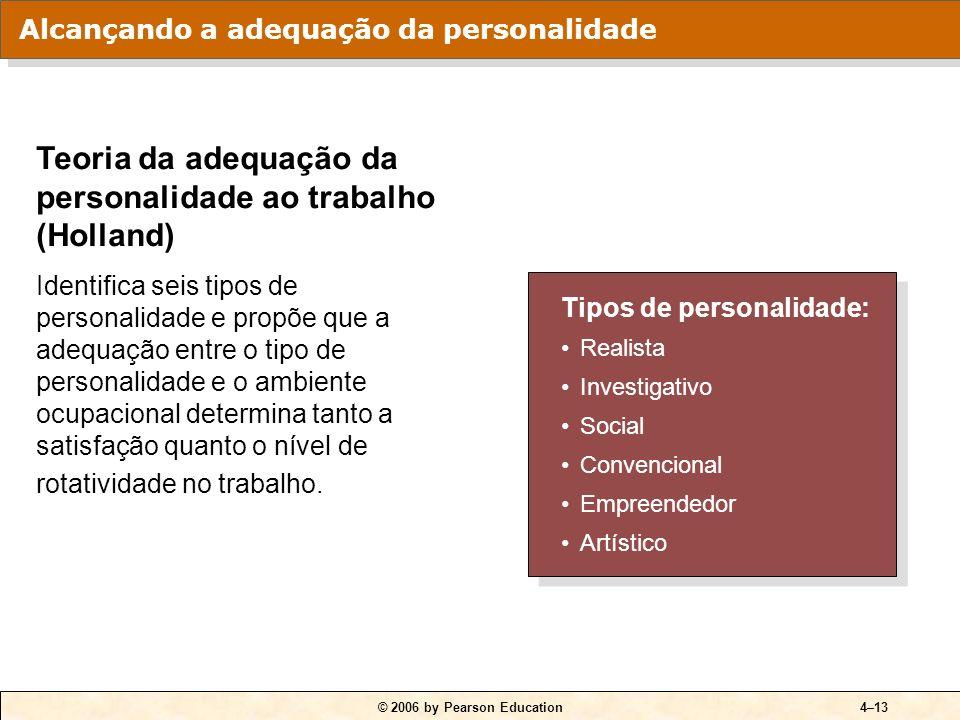© 2006 by Pearson Education4–13 Tipos de personalidade: Realista Investigativo Social Convencional Empreendedor Artístico Tipos de personalidade: Real