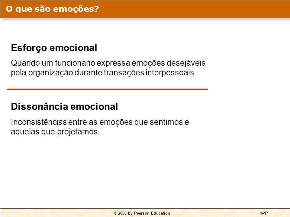 © 2006 by Pearson Education4–17 Esforço emocional Quando um funcionário expressa emoções desejáveis pela organização durante transações interpessoais.