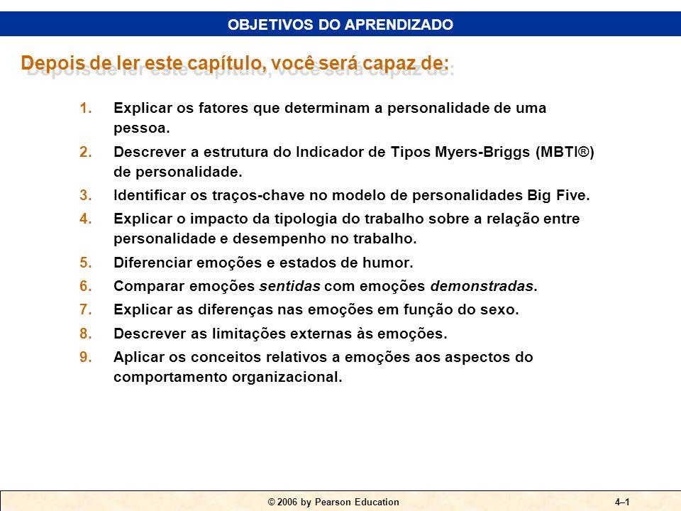 © 2006 by Pearson Education4–1 1.Explicar os fatores que determinam a personalidade de uma pessoa. 2.Descrever a estrutura do Indicador de Tipos Myers