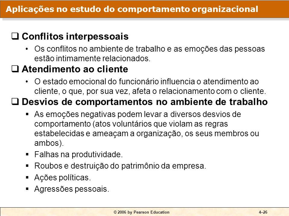 © 2006 by Pearson Education4–26 Conflitos interpessoais Os conflitos no ambiente de trabalho e as emoções das pessoas estão intimamente relacionados.