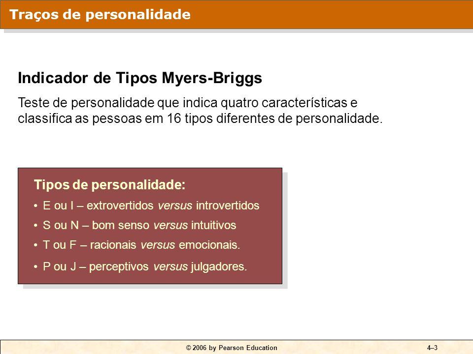 © 2006 by Pearson Education4–3 Tipos de personalidade: E ou I – extrovertidos versus introvertidos S ou N – bom senso versus intuitivos T ou F – racio