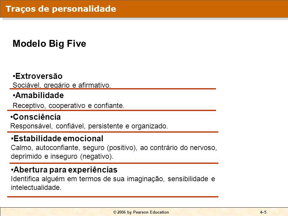 © 2006 by Pearson Education4–5 Modelo Big Five Extroversão Sociável, gregário e afirmativo. Amabilidade Receptivo, cooperativo e confiante. Consciênci