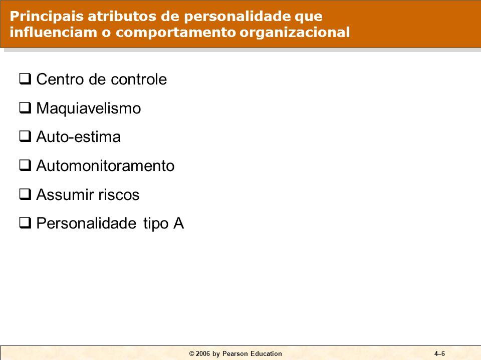 © 2006 by Pearson Education4–6 Centro de controle Maquiavelismo Auto-estima Automonitoramento Assumir riscos Personalidade tipo A Principais atributos