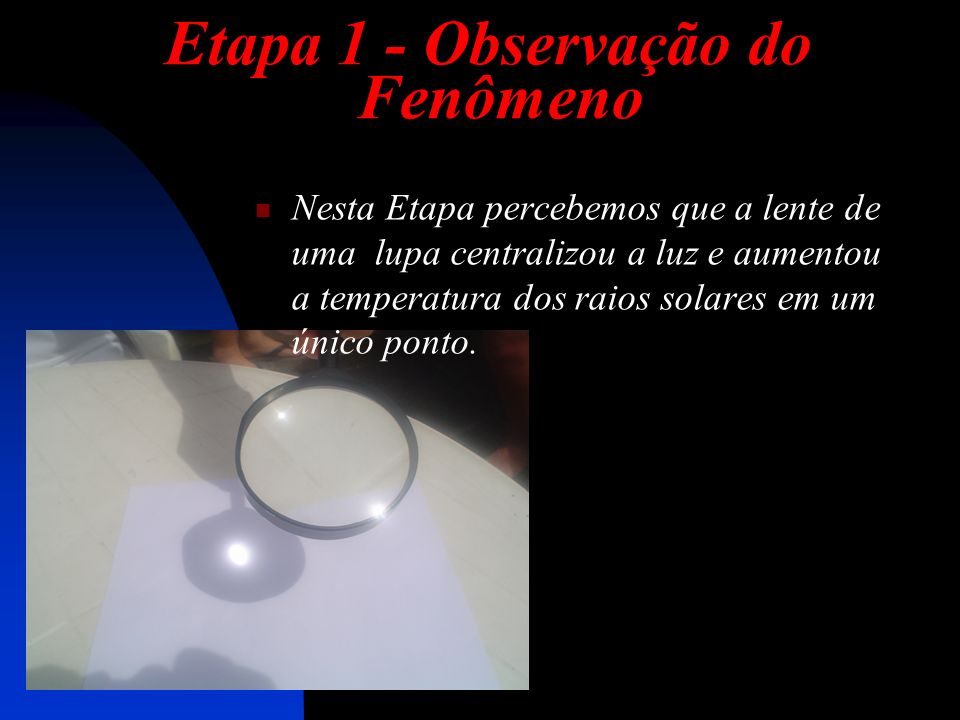 Etapa 1 - Observação do Fenômeno Nesta Etapa percebemos que a lente de uma lupa centralizou a luz e aumentou a temperatura dos raios solares em um único ponto.