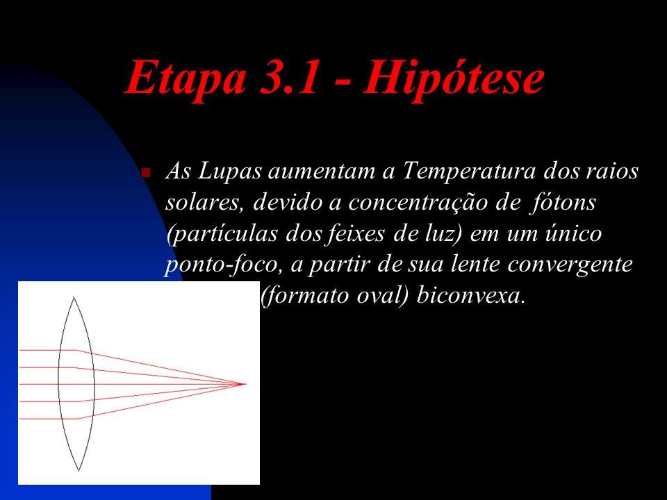 Etapa 3.1 - Hipótese As Lupas aumentam a Temperatura dos raios solares, devido a concentração de fótons (partículas dos feixes de luz) em um único ponto-foco, a partir de sua lente convergente (formato oval) biconvexa.