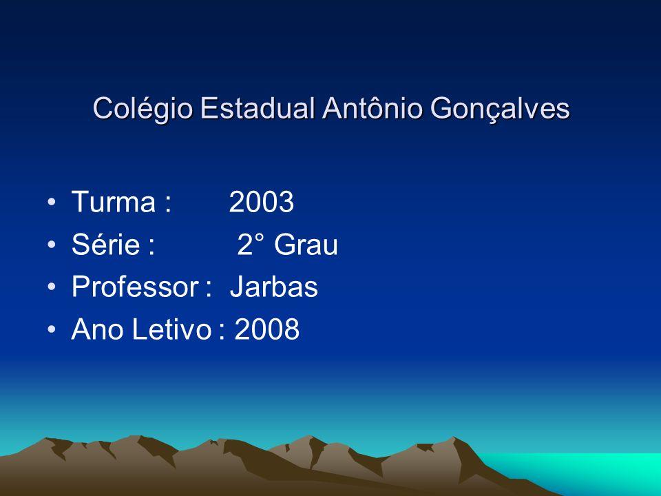 Colégio Estadual Antônio Gonçalves Turma : 2003 Série : 2° Grau Professor : Jarbas Ano Letivo : 2008